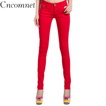2017 Autumn Women Pencil Jeans Candy Colored Mid Waist Full Length Zipper Slim Fit Skinny Women Pants Hot Fashion Female Jeans 2017 rushed real zipper fly embroidery pencil pants mid cotton regular plaid light waist jeans jeans jeans are the female