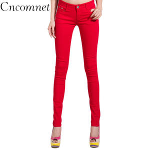 Pencil Jeans Pants Mid-Waist Slim-Fit Zipper Colored Skinny Women Fashion Full-Length