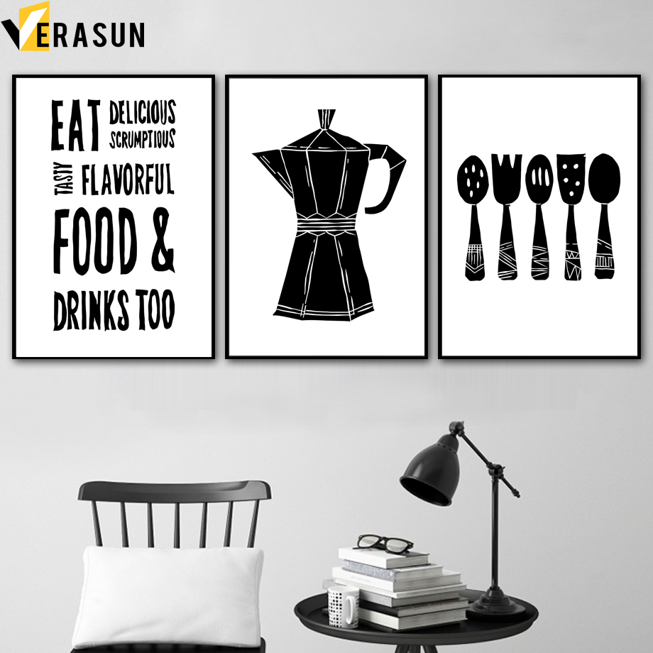 Black White Coffee Spoon Fork Wall Art Canvas Painting Nordic Posters And Prints Pictures For Living Room Kitchen Decor Calligraphy Aliexpress