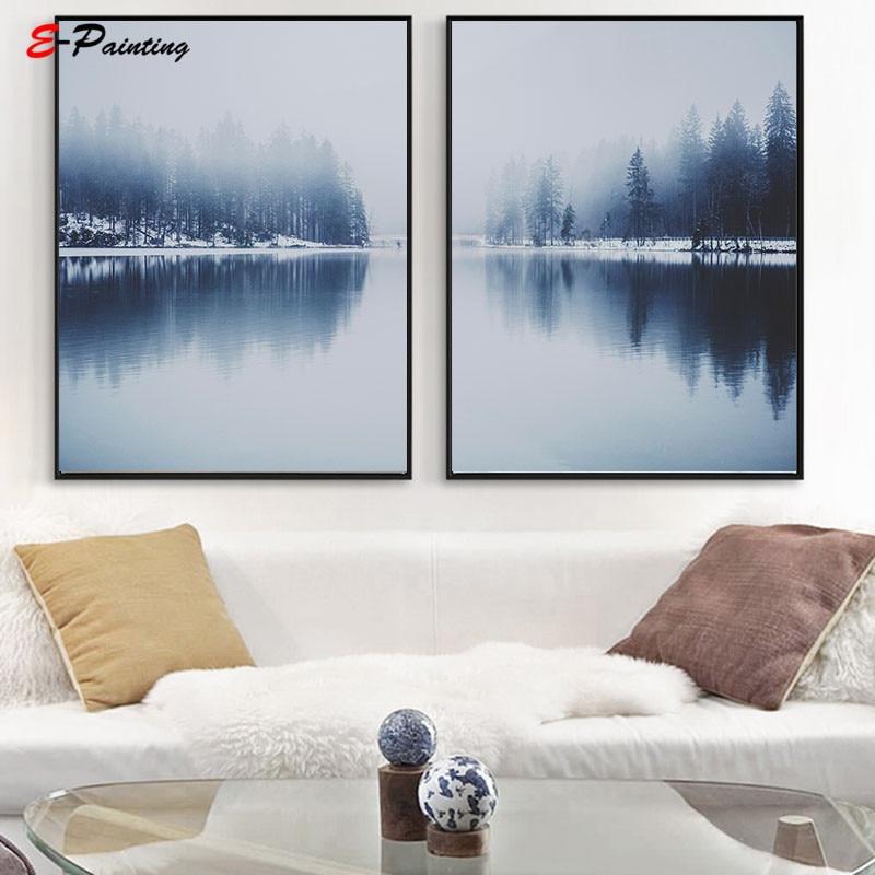 Pintura de pared nórdica lienzo impresión Austria arte escandinavo cartel de paisaje minimalista Pared de salón cuadro decorativo