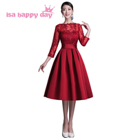 Fashion Ladies Elegant Long Sleeved Dresses Petite Women Party Sexy Wine Red Lace Formal Evening Dress