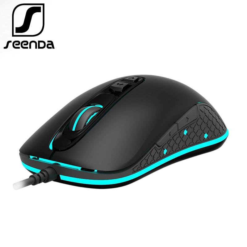 SeenDa Professionnel Jeu Filaire Souris RGB 7 Boutons 4000 DPI LED Ergonomique Optique Gaming Mouse Pour PC Ordinateur Portable Gamer souris
