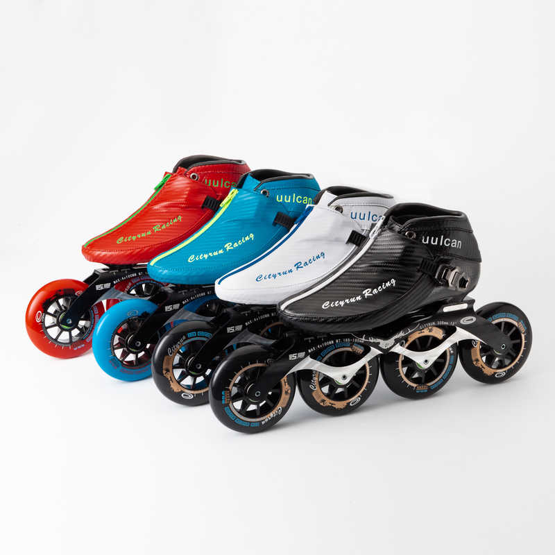 2019 Cityrun Inline Speed Skates Carbon Fiber Adults And Children Racing Skating Shoes 4*90 100 110mm Aluminum Alloy Frame High Elasticity Wheel From