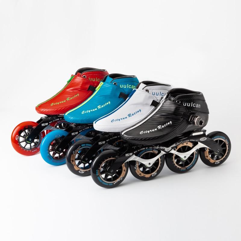 CITYRUN 4 roues 110mm patins de vitesse en ligne chaussures en Fiber de carbone botte de patinage bleu noir Zip 100mm 90mm course sur piste Marathon PS Pro