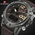 2017 Nova Luxo Marca NAVIFORCE Militar Homens de Couro Relógios de Quartzo dos homens Analógico Digital Led Relógio de Pulso Esporte relogio masculino