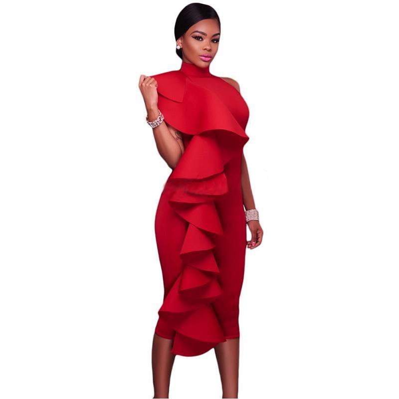 ADEWEL 2017 Women Big Ruffles Midi Elegant Dress Sexy Open Back Bodycon Party Dress High Neck Vintage Pencil Dress 12