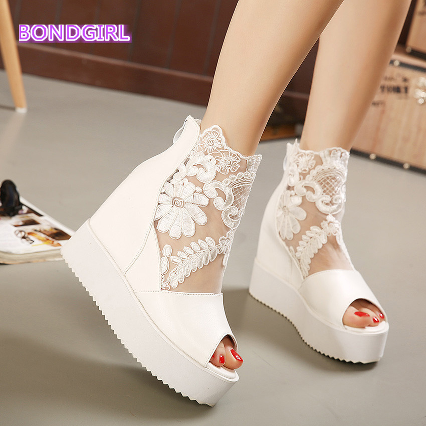 Newest white silver sexy lace platform wedge heels dress ...