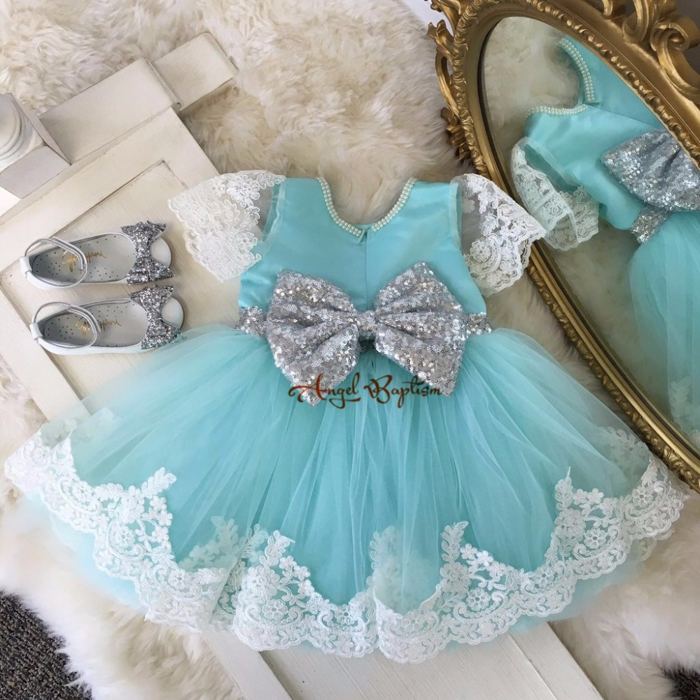 Cute Mint flower girl dresses baby short 1st birthday pearls lace toddler dress sequin princess gown with bow for party prom lilac tulle open back flower girl dresses with white lace and bow silver sequins kid tutu dress baby birthday party prom gown