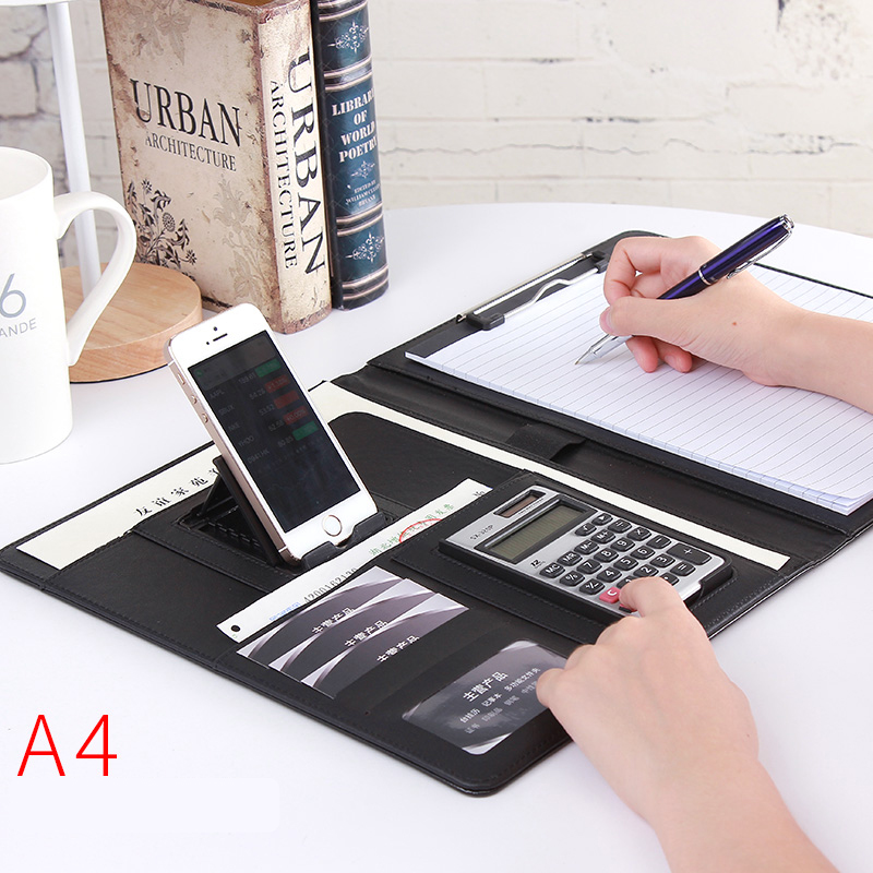 A4 PU Leather Folder Padfolio job executive Multi-function Office Organizer Planner Notebook School Office Folder for Documents(China)