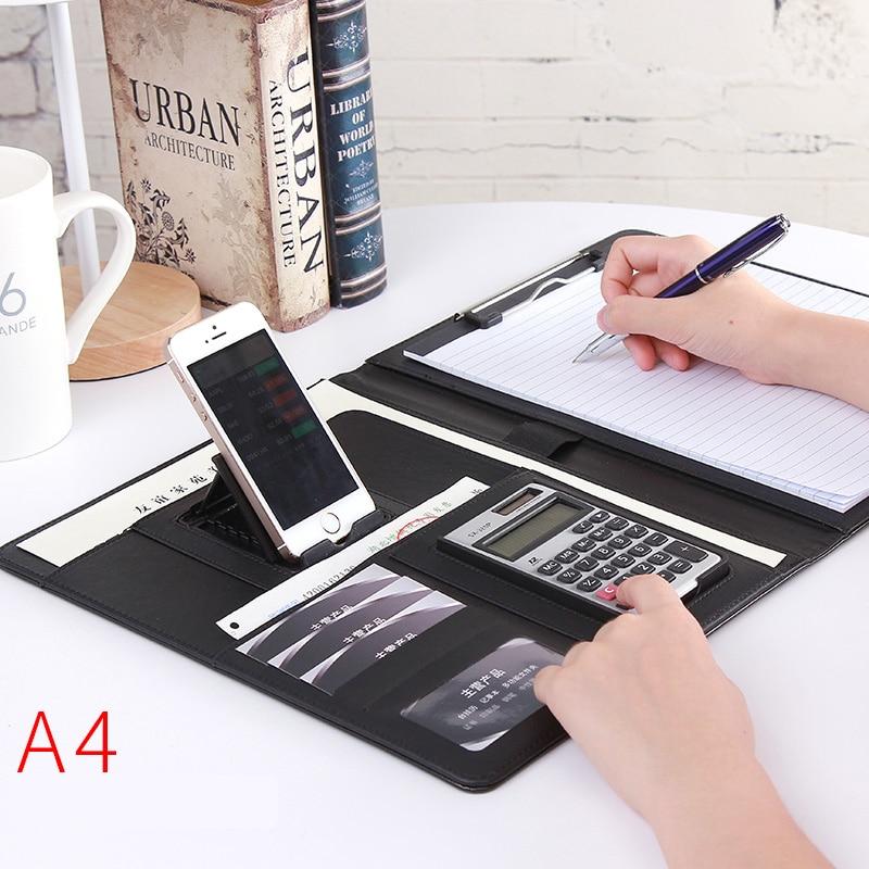 a4-pu-leather-folder-padfolio-job-executive-multi-function-office-organizer-planner-notebook-school-office-folder-for-documents