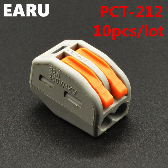 (10pcs/lot) WAGO 222-412 PCT-212 PCT212 Universal Compact Wire Wiring Connector 2 pin Conductor Terminal Block Lever 0.08-2.5mm2