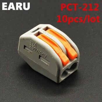 (10 шт./лот) WAGO 222-412 PCT-212 Универсальный Компактный Провод Подключения Разъем 2 контактный Дирижер Клеммный Блок С рычаг 0.08-2.5mm2