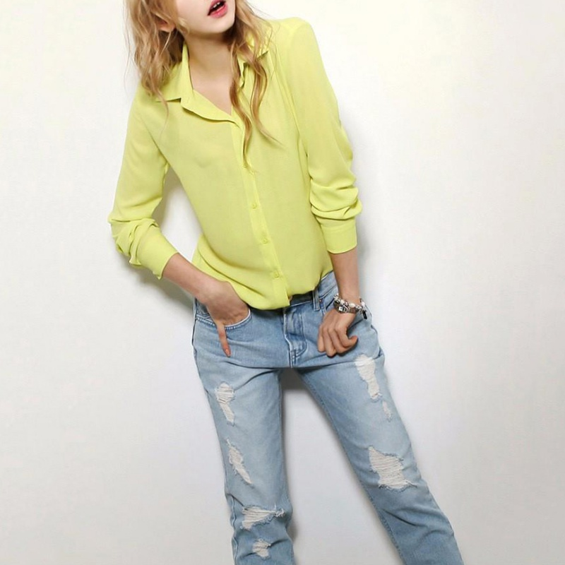 Summer Fashion Girl Chiffon Blouse Casual Long Sleeve Shirt Women Summer Clothing Blusas Chic YRD