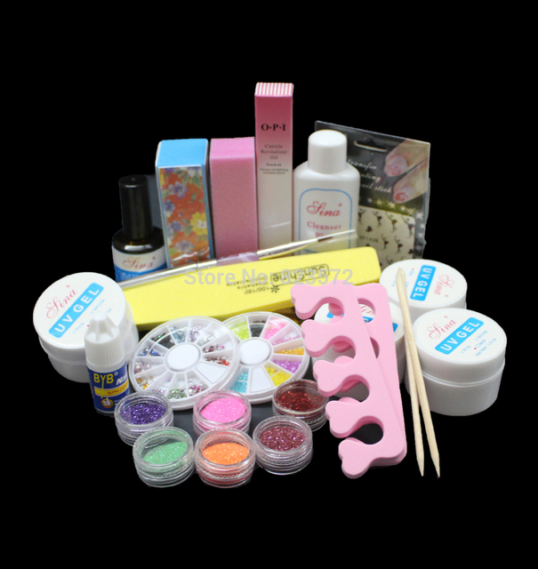 UC-80 New Full Acrylic Glitter Powder Glue File French Nail Art UV Gel Tips Kit Set ,NAIL art uv gel kit