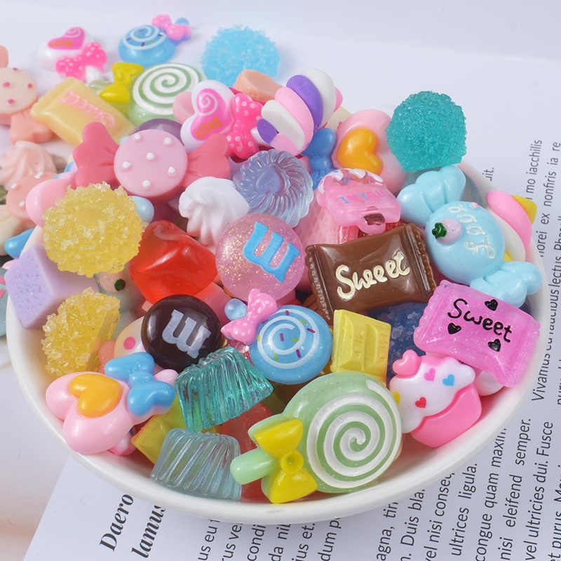 10Pcs Candy Slime Supplies Accessories Phone Case Decoration for Slime Diy Filler Miniature Resin Cake Fruits Candy Chocolate