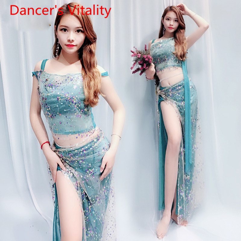 Image 3 - bell dance suit top + skirt 2pcs clothes Coloured Beaded embroidered shoulder Fairy  clothing Costume 4 style belly dance set-in Belly Dancing from Novelty & Special Use