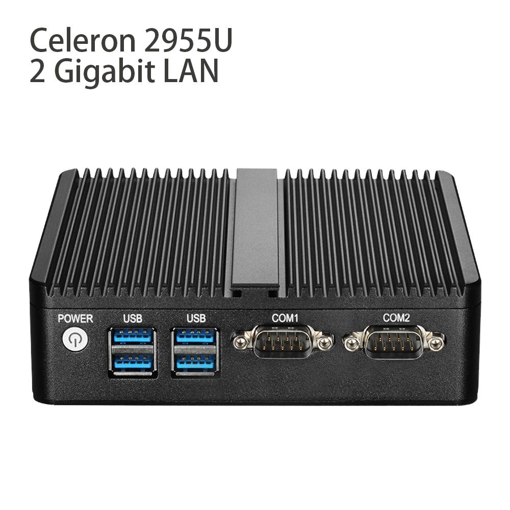 Fanless Mini PC Celeron 2955U 2*Gigabit Ethernet Mini Computer Windows 10 Linux Dual LAN 2*COM Desktop Nettop HDMI WIFI HDD hot sale celeron mini pc desktop computers dual lan mini pc x29 j1800 j1900 2 gigabit lan hdmi vga windows 7 win10 ubuntu