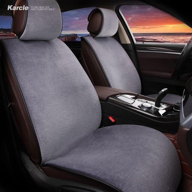 Karcle 3PCS Wool Car Seat Covers Set Sheepskin Fur Vehicles Protector Healthy Woolen Cushion