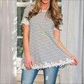 2016 Spring Summer long style T-shirt Women O neck Striped  t shirt women casual Short Sleeve Appliques top blusas jztx00016
