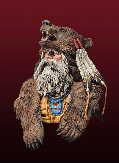 1/10 Ancient Bear Man Officer Bust   Toy Resin Model Miniature Kit Unassembly Unpainted