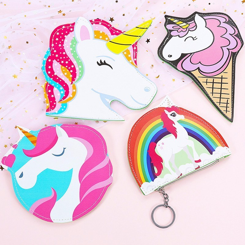 Unicorn coin purses women wallets small cute cartoon kawaii card holder key money bags for girls ladies purse kids children bulk cute cats coin purse pu leather money bags pouch for women girls mini cheap coin pocket small card holder case wallets