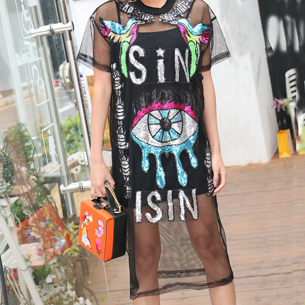 Summer Holographic Harajuku Festival Rave Clothes Outfits Wear Women Boho  Embroidery Bodycon Dress Black Mermaid Sequin Dress-in Dresses from Women s  ... be521b592fb0