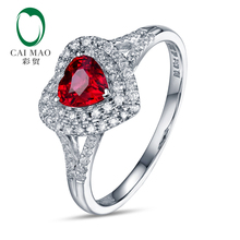 Romantic 18KT/750 White Gold 0.59ct Red Ruby & 0.31ct Round Cut Diamond Engagement Gemstone Ring Jewelry