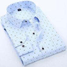 High Quality Men Shirt Spring Long Sleeve Turn-Down shirt Dress Polka printing Casual Camisas Short sleeve