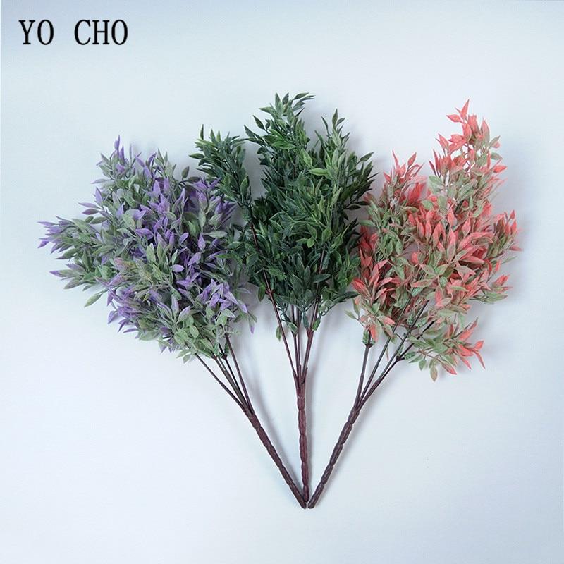 YO CHO Fleurs Artificielles 5 Fourchettes 33 CM Plastique Vert Feuille  Herbe Plante Pour Maison Jardin