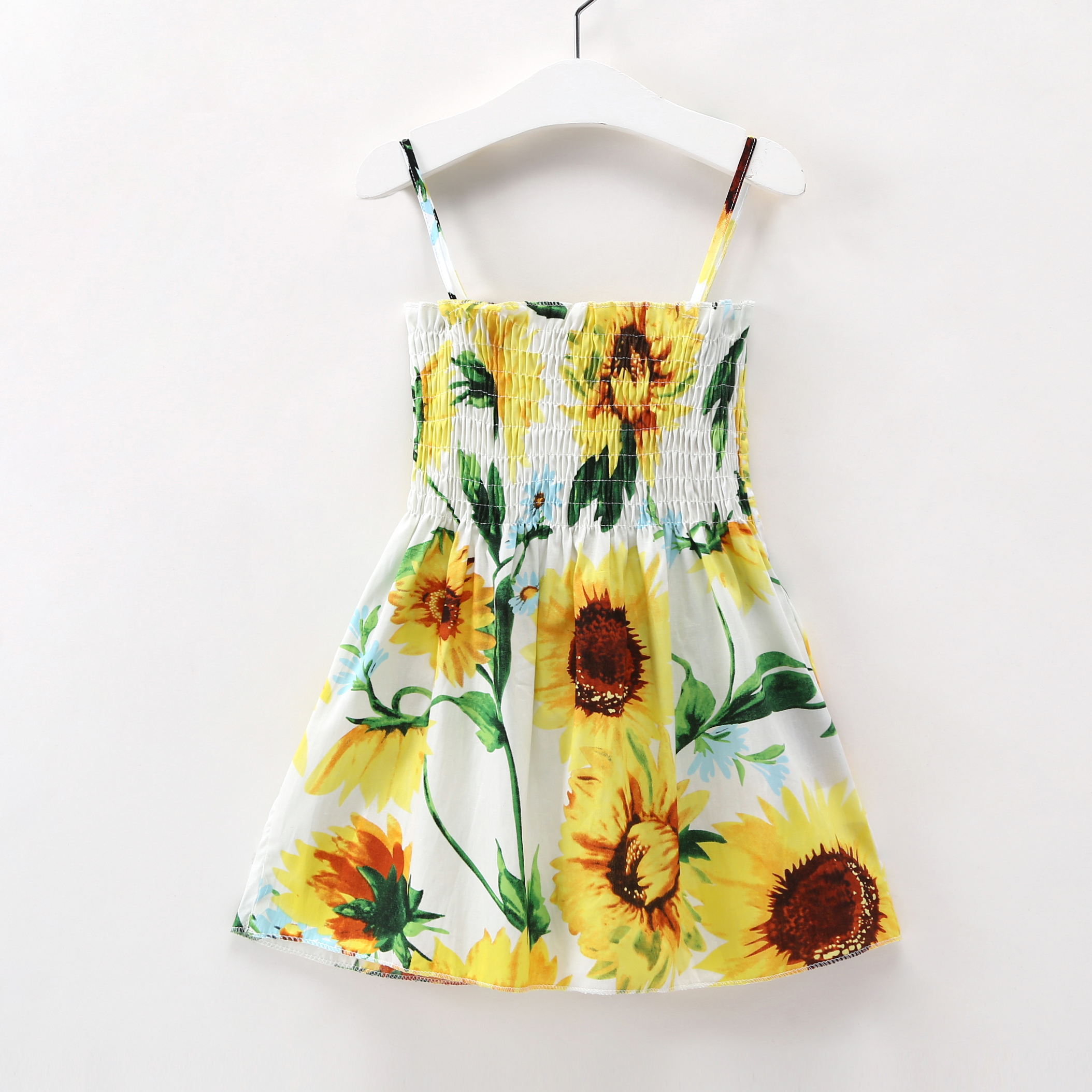 baby clothes Girl Sunflower Princess Dress New summer bebe Baby Ruched party Dresses Kids Costume Causal Clothes Sling dress