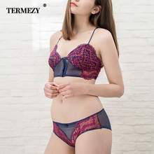 TERMEZY Sexy Lace Underwear Front Closure Lingerie Set Women panties and bra set Summer Ultra-thin Bralette Female