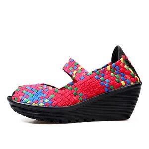 Image 3 - STQ 2020 letnie kobiety sandały na platformie buty damskie tkane płaskie buty klapki szpilki buty plastikowe damskie wsuwane buty buty 559