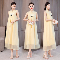 Yellow Modern Chinese Dress Elegant Vintage Plus Size Large Maxi Long Pink Dresses Sleeveless Party Night Summer Robe Clothing