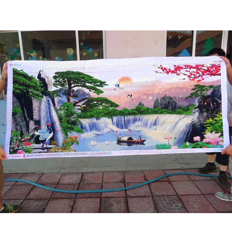 Cross Stitch Finished   / Cross Stitch Landscape Painting/Machine Cross  Stitch Finished - The Boat In The Water