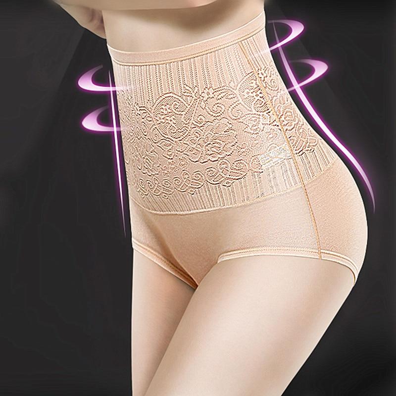 Women Cotton High Waist Underwear Sexy Lace Woman Panties Shapewear Abdomen Hips Slimming Calcinha Lingerie Soft Briefs Seamless