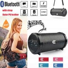 89mm Big Bass PU leather Column Cylinder bluetooth speaker 3″Outdoor Bazooka altavoz Tube soundbar Support FM SD card Subwoofer