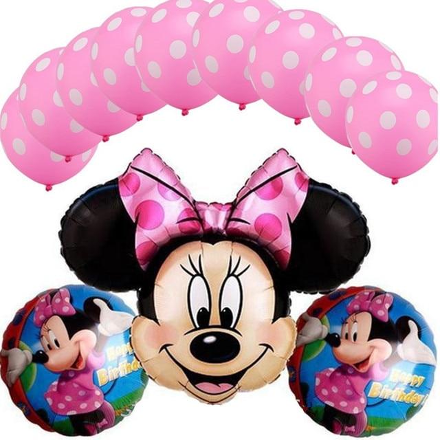 13Pcs/lot Minnie Mickey Kitty Sofia Helium Foil Balloon & Latex Balloon for Baby Shower Kids Birthday Party Wedding Decoration