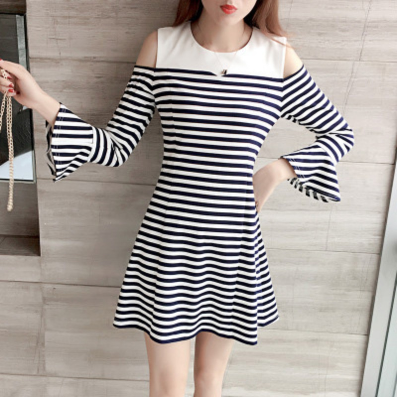 Female Fashion Striped Mini Dress Large Size Women Fishtail Vestidos Personality In Hip women's Long Sleeve Dress