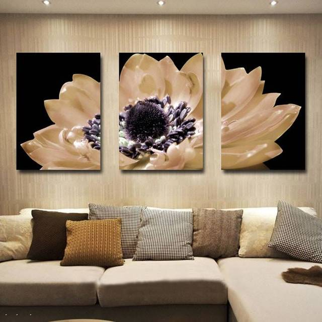 framed artwork for living room light color paint art free shipping 3 panel decorative canvas painting modern huge picture print big flower wall