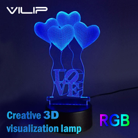3D Visual Bulb Optical Illusion Colorful LED Table Lamp Touch Romantic Holiday Night Light Baymax Love