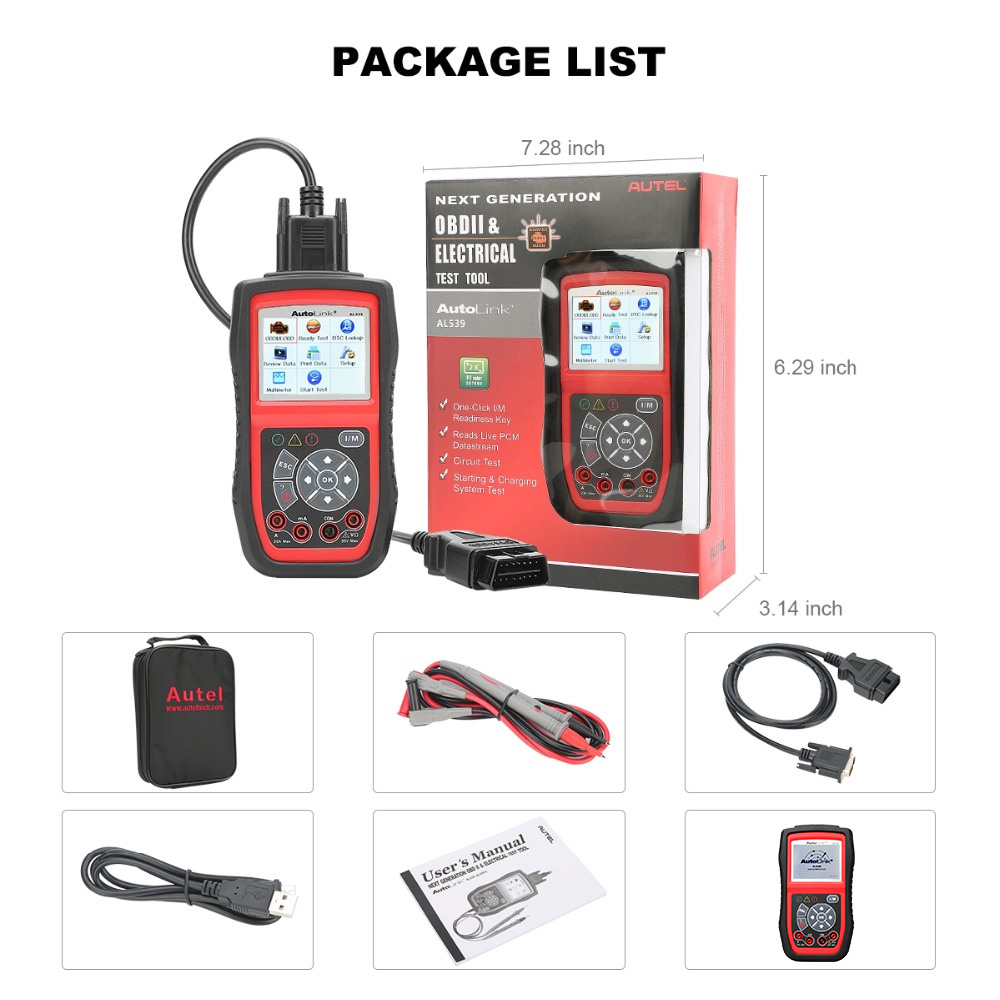 Image 5 - Autel AutoLink AL539 OBDII Electrical Test Tool Auto AL 539 OBD2 Scanner Internet Update Voltage Circuit Start Tester PK AL539B