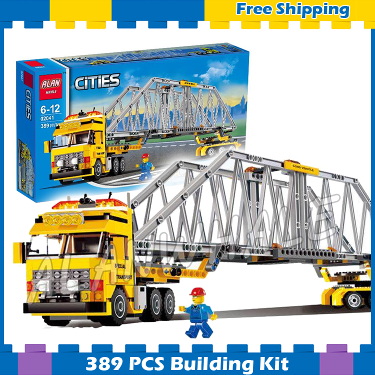 389pcs City Heavy Loader parallel Truck 02041 Model Building Blocks Children Assemble Gifts Sets Collection Compatible With lego 889pcs city volcano exploration base model building blocks 02005 assemble bricks children cars toys sets compatible with lego