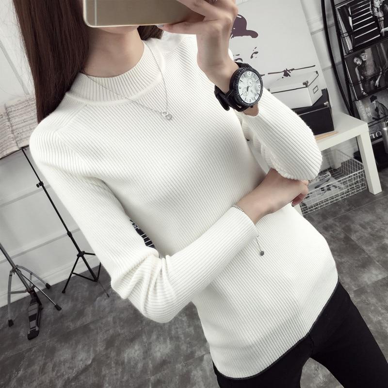 Un conjunto de nueva invierno media cabeza de Corea suéter de punto de cuello al