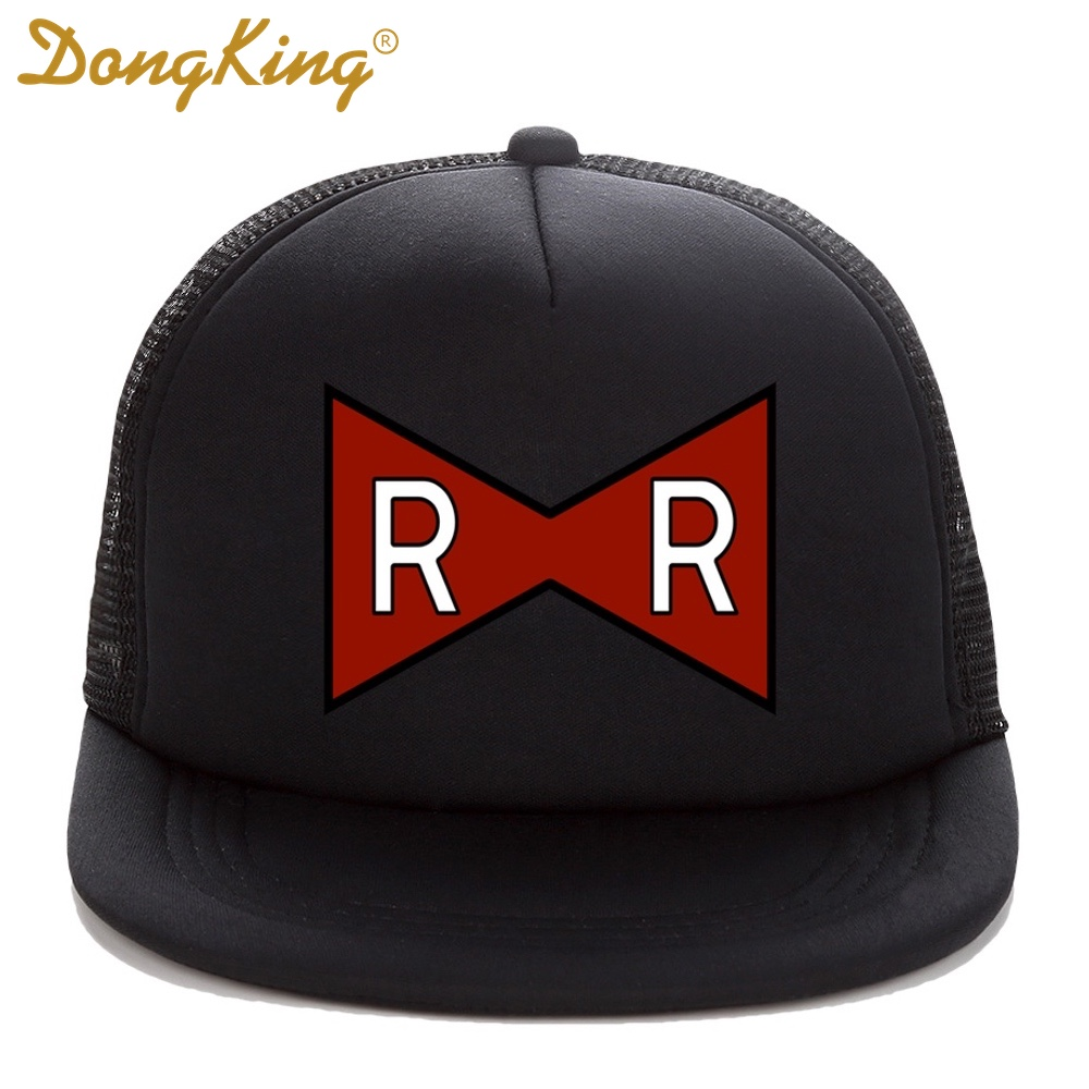 DongKing Trucker Cap RED RIBBON ARMY Print Dragon Ball Z Adult Trucker hat Mesh Flat Visor Snapback Hat Cap Kids Dragon Cap Gift man woman vintage military washed cadet hat army plain flat cap