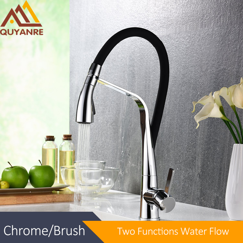 Quyanre Chrome Brass Black LED Kitchen Sink Faucet Flexible Rubber Pull-out Sprayer Rotation Kitchen Tap Torneira Cozinha xoxo kitchen faucet brass brushed nickel high arch kitchen sink faucet pull out rotation spray mixer tap torneira cozinha 83014