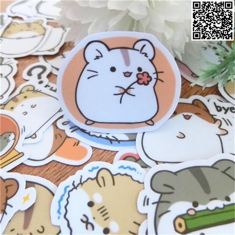 40 Pcs Cute Little Hamster Paper Sticker For Luggage Skateboard Phone Laptop Moto Bicycle/Eason Stickers/DIY Scrapbooking