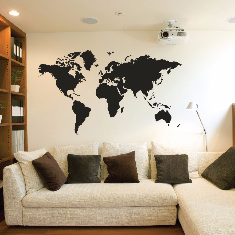 charming bedroom wall art stickers | Creative home world map vinyl wall stickers living room ...