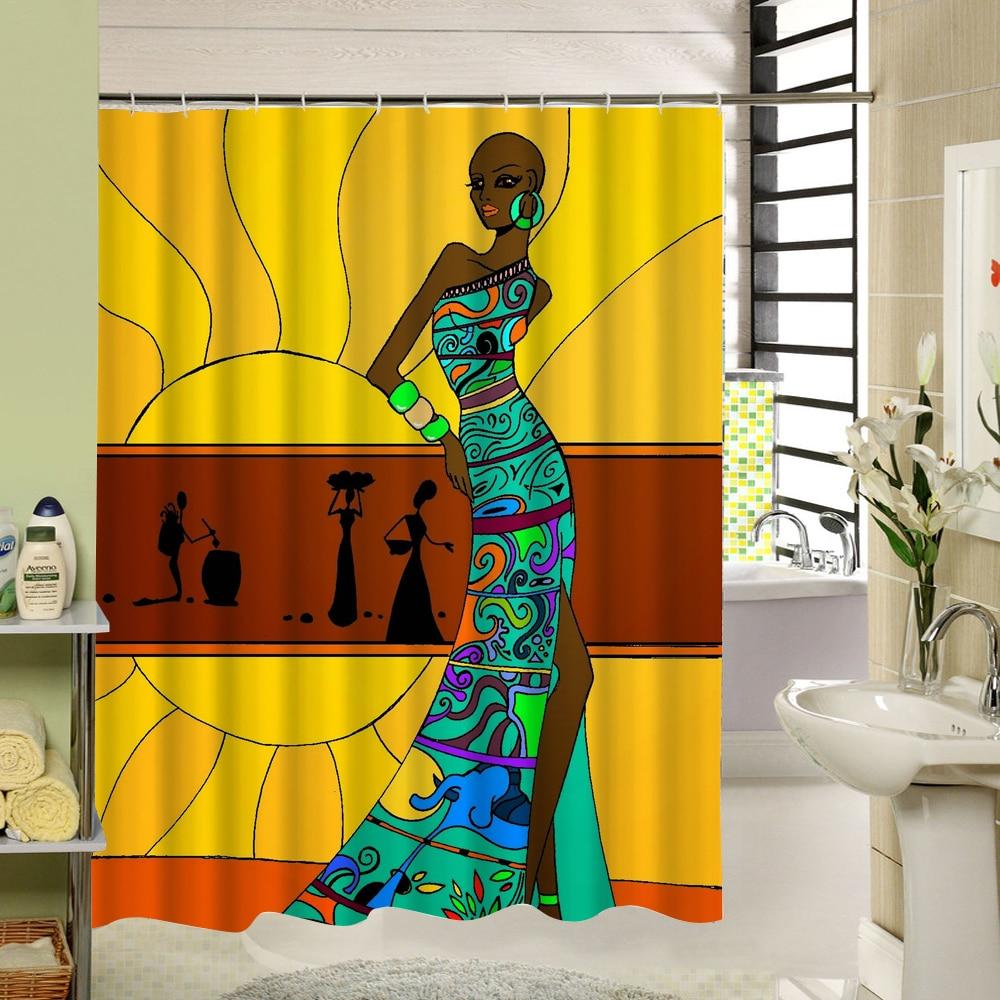 africano tenda della doccia donna bagno fodera in poliestere 3d tenda della stanza da bagno set