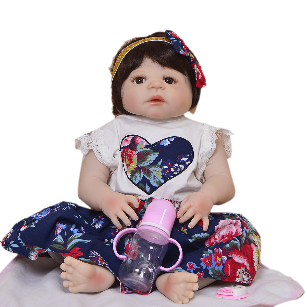 New Arrival 57 cm 23'' Reborn Babies Doll Full Silicone Vinyl Realistic Princess Girl Doll Baby Toy Toddler Xmas Gift Bath Toys цена