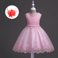 Baby Kids Ball Cute Dresses 2 3 4 5 6 7 8 9 10 11 Years Children Ice Blue White Flowers Sleeveless Summer Pink Pearl Dress Girls